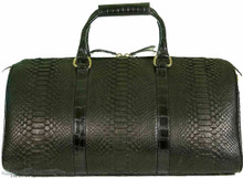 Aino Duffel Bag - Black Python Trimmed in Alligator