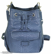 Bucket/Drawstring Convertible Backpack - Python in Denim
