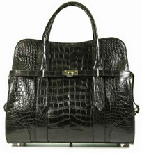 Alessandra - Black Matte Waxy American Alligator Belly