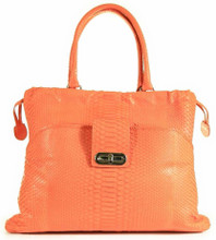 Drawstring Pocket Tote - Short Tail Python in Orange