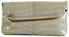 Fold Over Angled Clutch - Nile Crocodile with Matte Waxy finish in Grey
