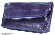 Fold Over Angled Clutch - Nile Crocodile - Purple Matte Waxy