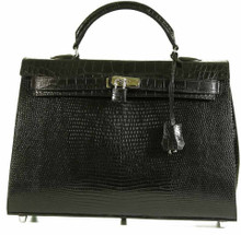 Grace 40 - Black Glazed Lizard Trimmed With Matte Waxy American Alligator Belly