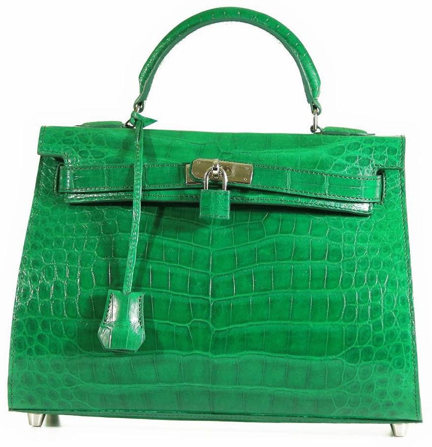 6120b486c6b1 Grace 32 - Freshwater Crocodile in Kelly Green with Shoulder Strap    Matching Zippered Wallet