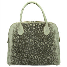 Lizard Structured Tote with Zippered Opening