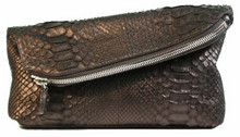 Fold Over Angled Clutch - Python in Matte Black