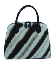 Patrice (Large) - Zebra with Black Ostrich  Handles