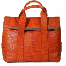Fold Over Zippered Tote  - Orange Matte Caiman