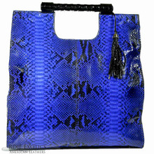Resort Tote Convertible - Electric Blue Python Trimmed in Alligator