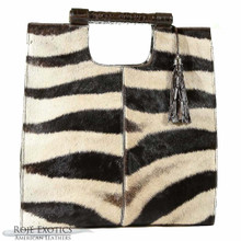 Resort Tote - Zebra and Dark Brown Alligator