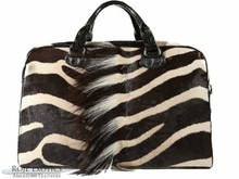 Travel Briefcase - Zebra Trimmed in Black Alligator Belly & Crocodile Backstraps