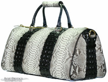 Aino - Duffel Bag in Natural Python with black Crocodile Backstraps