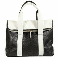 Fold Over Zippered Tote - Black & White Matte Python