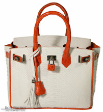 Classic 30 - White Python Trimmed in Orange Caiman