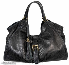 Colette - Black Python Trimmed in Black American Alligator