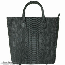 Shopping Tote - Black Suede Python