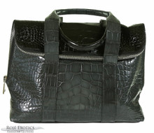 Fold Over Zippered Tote - Black & Grey Alligator