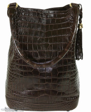 Bucket Bag - Dark Brown American Alligator