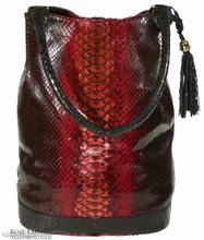 Bucket Bag - Dark Red Glazed Python Trimmed in Alligator