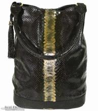 Bucket Bag - Black Glazed Python Trimmed in Alligator