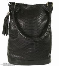 Bucket Bag - Black Matte Python Trimmed in Alligator