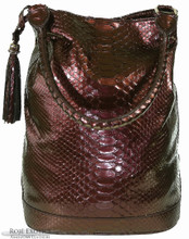 Bucket Bag - Pearlized Burgundy Python