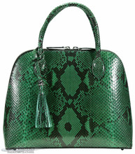 Patrice Satchel - Dark Green Glazed Python