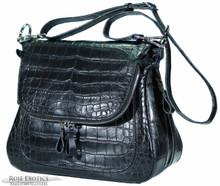 Zippered Messenger Saddle Bag - Crocodile Belly - Chocolate Brown