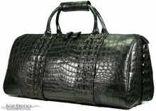 Aino - Duffel Bag - Black Crocodile Belly & Black Crocodile Backstraps