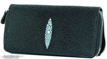 Zippered Wallet - Stingray - Black Caviar