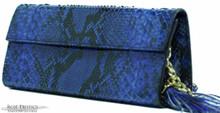 Sabrina Clutch - Reticulated Python - Royal Blue Glazed