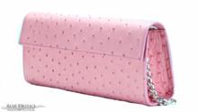 Sabrina Clutch - Ostrich - Pink Matte