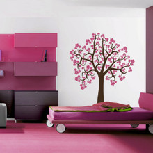 tree wall decal, curly cherry blossom tree