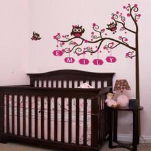 kids wall decal, tree wall decal, owl and tree wall decal, nursery wall decal