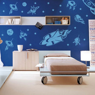 kids rockets and spaceship wall decals pack, kids wall decals