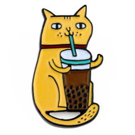 Bubble Tea Cat Badge