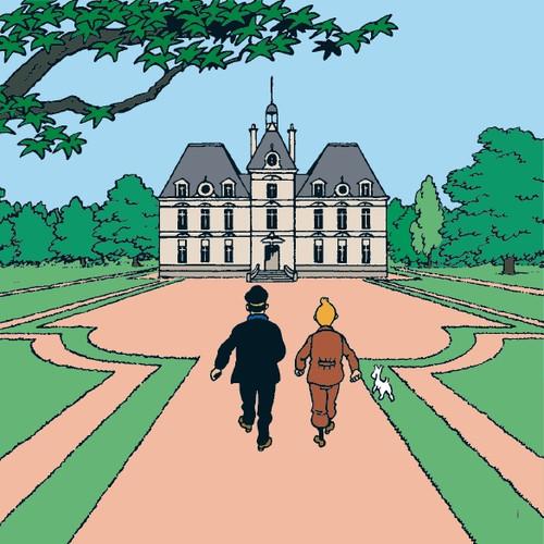 tintin moulinsart castle châteaux de moulinsart canvas print
