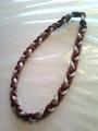 Maroon & White O-Nits Titanium Necklace