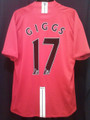 Giggs Rare Manchester United 2007 2009 Adult XL Home Jersey With Felt Name Set!