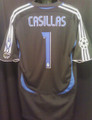 Casillas Real Madrid 2007 Classic Black and Royal Adult XL Goalkeeper Jersey With Full Champions League Patches