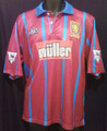 Aston Villa Vintage Parker 1993 1995 Size L Away Jersey With F.A. Premier League Sleeve Patches