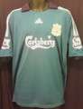 Liverpool Rare 2008 2009 Third Turquoise and Black XL Jersey With Felt Barclays Premier League Patches