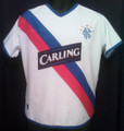 Rangers Vintage 2004 2005 White With Royal And Red Diagonal Stripes Away Adult M Jersey