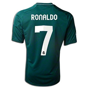 39513a38e Ronaldo Real Madrid 2012 2013 Very Rare Forest Green and Silver Adult L  Third Jersey with Full Champions League Patches. Price   125.00. Image 1.  Larger ...