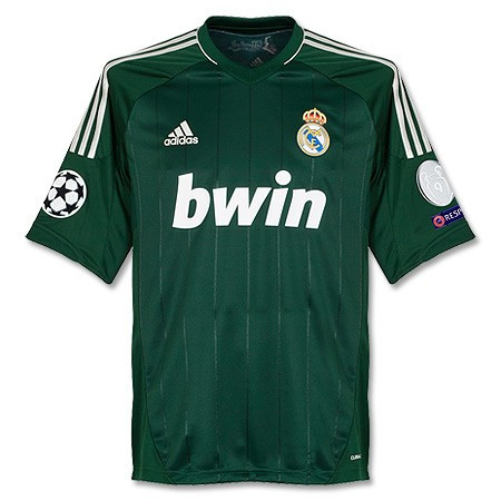 fca19b96e Ronaldo Real Madrid 2012 2013 Very Rare Forest Green and Silver Adult L  Third Jersey with Full Champions League Patches. Price   125.00. Image 1