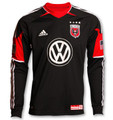 DC United Size Adult XL Rare Long Sleeve Black Away Jersey