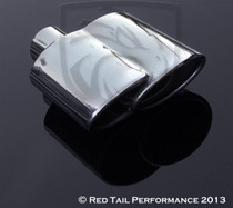 "Exhaust Muffler Tip Dual Oval  Fused Double Rolled Inward Left  2"" Inlet / ID, 6.25X2.75"" Outlet / OD, Red Tail Performance #RTP-002L"