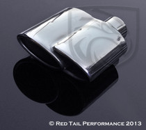 "Exhaust Muffler Tip  Dual Oval Fused Double Tip Rolled Inward Right  2"" Inlet / ID, 6.25X2.75"" Outlet / OD, Red Tail Performance #RTP-002R"