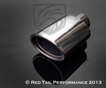 "Exhaust Muffler Tip  Oval Forward Slash Cut Double Wall Inter-cooled Rolled Edge Resonated  2"" Inlet / ID, 4.75X3.25""Outlet / OD #RTP-005"