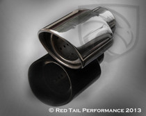 "Exhaust Muffler Tip  Oval Double Wall Forward Slash Cut Tip Inner Shelve Resonated  2.25"" Inlet / ID, 4.5X3.75"" Outlet / OD, Red Tail Performance #RTP-011"